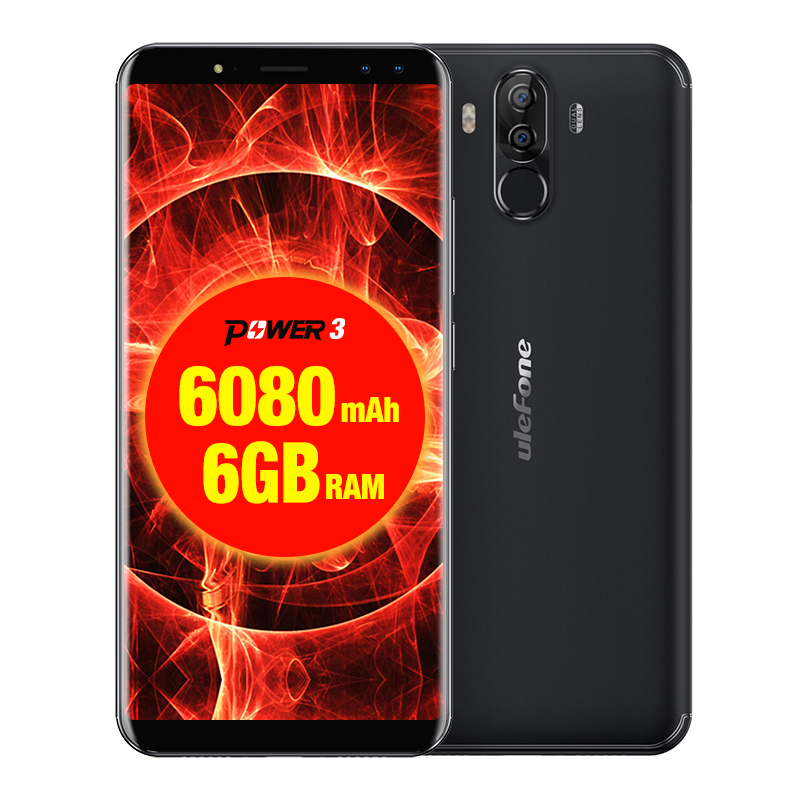 Ulefone Power 3 4G Mobile Phone Android 7.1 Smartphone Octa Core 6GB And 64GB 6.0Inch HiFi Face Recognition Quad Cameras 6080mAh