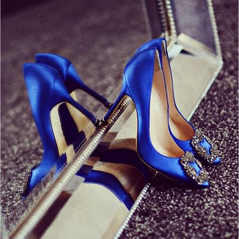 Fabulous Blue Women Wedding Shoes Chic Hangisi Crystal-Buckle Satin Stiletto Heels Low-cut Vamp Pointed Toe Jeweled Bridal Shoes you slay me