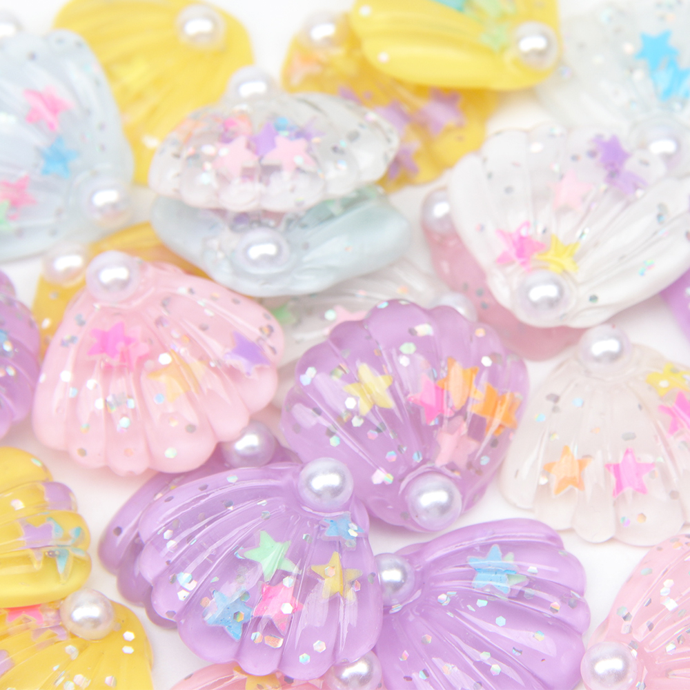 IBOWS 10pcs Flat Back Resin Pearl Sequin Shell Flatback Resin Cabochon For Phone Decoration Hair Bow DIY Scrapbook Embellishmen