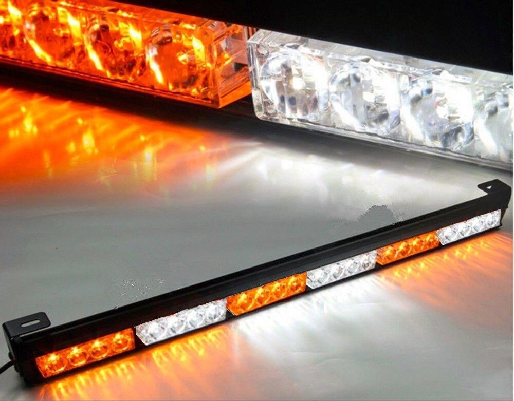 Truck 24 LED Amber White Emergency Traffic Advisor Flash Strobe Light Bar Warning