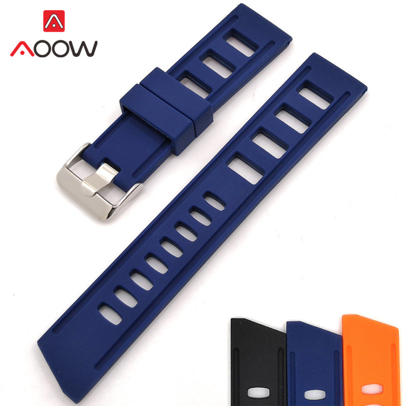 20mm 22mm Silicone Watchband For Samsung Galaxy Huawei Watch GT Men Sweatproof Sport Rubber Replacement Bracelet Band Strap Blue