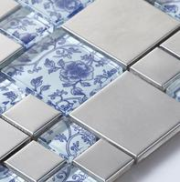 Drawing Art Blue Glass Mosaic Mixed Metal Mosaic Tiles For Kitchen Backsplash Bathroom Shower Tile Dining