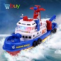 Marine Rescue Fire Boat Toys Electric Water Spraying Ship Model Automatic Sprinkler with Flashing Siren Sound for Children Kids