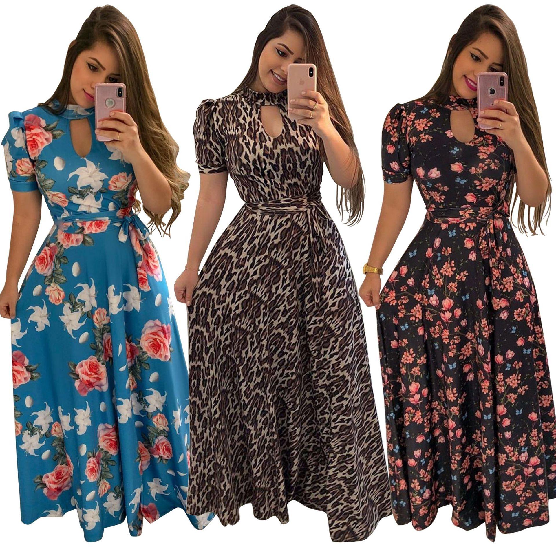 2019New Arrival Mulheres Maxi Vestidos Com Decote Em V Manga Longa Das Mulheres Da Moda De Cores De Longo Vest GOPUAMO