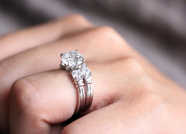 2.66CTW Brilliant Cut Simulated Diamond 925 Sterling Silver with Gold Wedding Engagement Ring