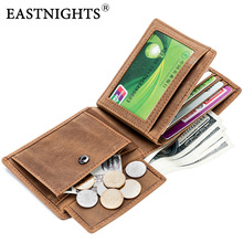 EASTNIGHTS Genuine Crazy Horse Leather Mens Wallet Rfid Vintage Men Money Bags Male Credit Card Wallets with Coin Purse  TW1678 men wallet crazy horse genuine leather purse money vintage zipper card holder coin photo high quality 2017 male wallets casual