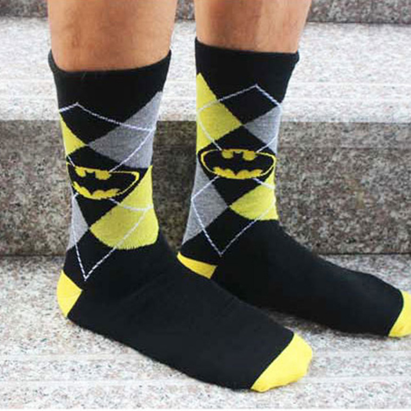 hot Unisex casual socks for men male hip hop homme black plaid chaussettes super heros crew socks streetwear fashion gift 2018