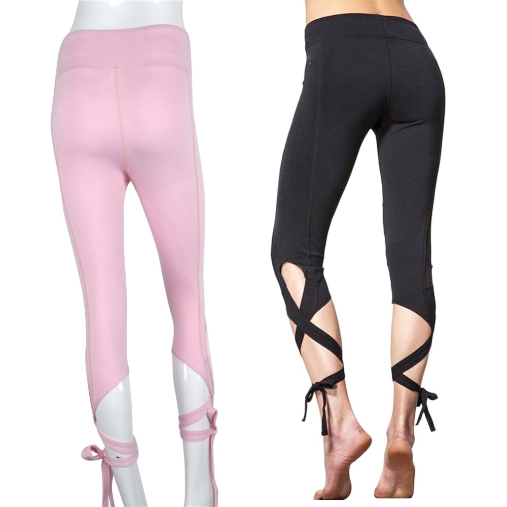 Calf-Length Pants Sport Leggings Women Fitness Yoga High Waist Mesh Pants PK