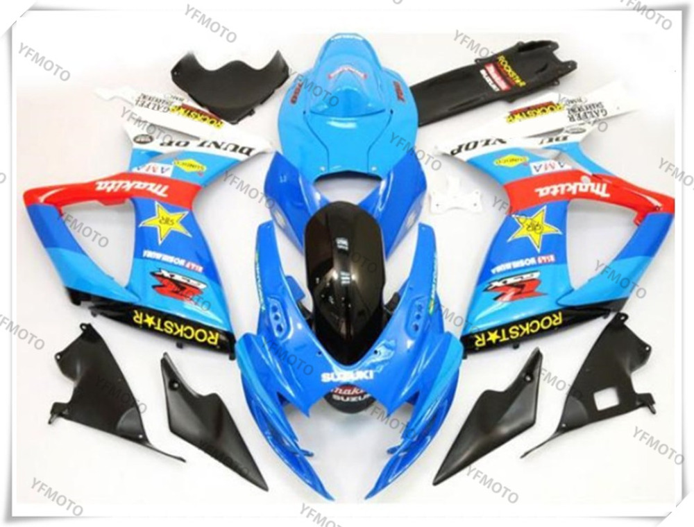 Motorcycle ABS Sky Blue Fairing Body Work  Cowling For SUZUKI GSXR600-750 GSXR 600 750 K6 2006-2007 +4 Gift new motorcycle ram air intake tube duct for suzuki gsxr600 gsxr750 2006 2007 k6 abs plastic black