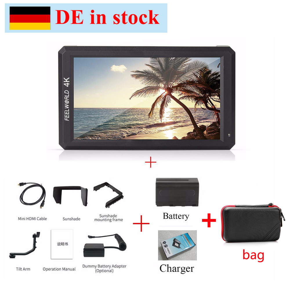 (can ship from Germany) Feelworld F6 5.7 IPS 4K HDMI Monitor + NP-F750 Battery for DSLR or Mirrorless Camera Can Power for DSLR цена