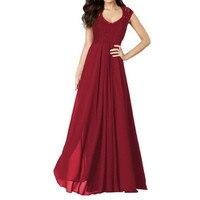2017 Kobiet Nowy Lace Maxi Rozmiar Długi Party Dress Szyfonu Bez Rękawów czarny Niebieski Czerwony Print V Neck Lace Sexy Drążą Kobiet sukienka