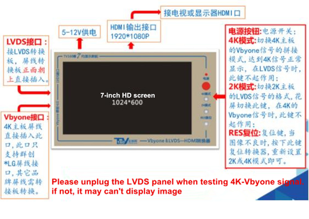 Official TV160 7th TV Mainboard Tester Tools 7 Inch LCD Display Vbyone LVDS to HDMI Converter With Seven Adapter Panels