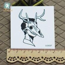 6X6cm Little Vintage Old School Style Black Deer Skull Women Temporary Tattoo Sticker Body Art Water Transfer Fake Taty