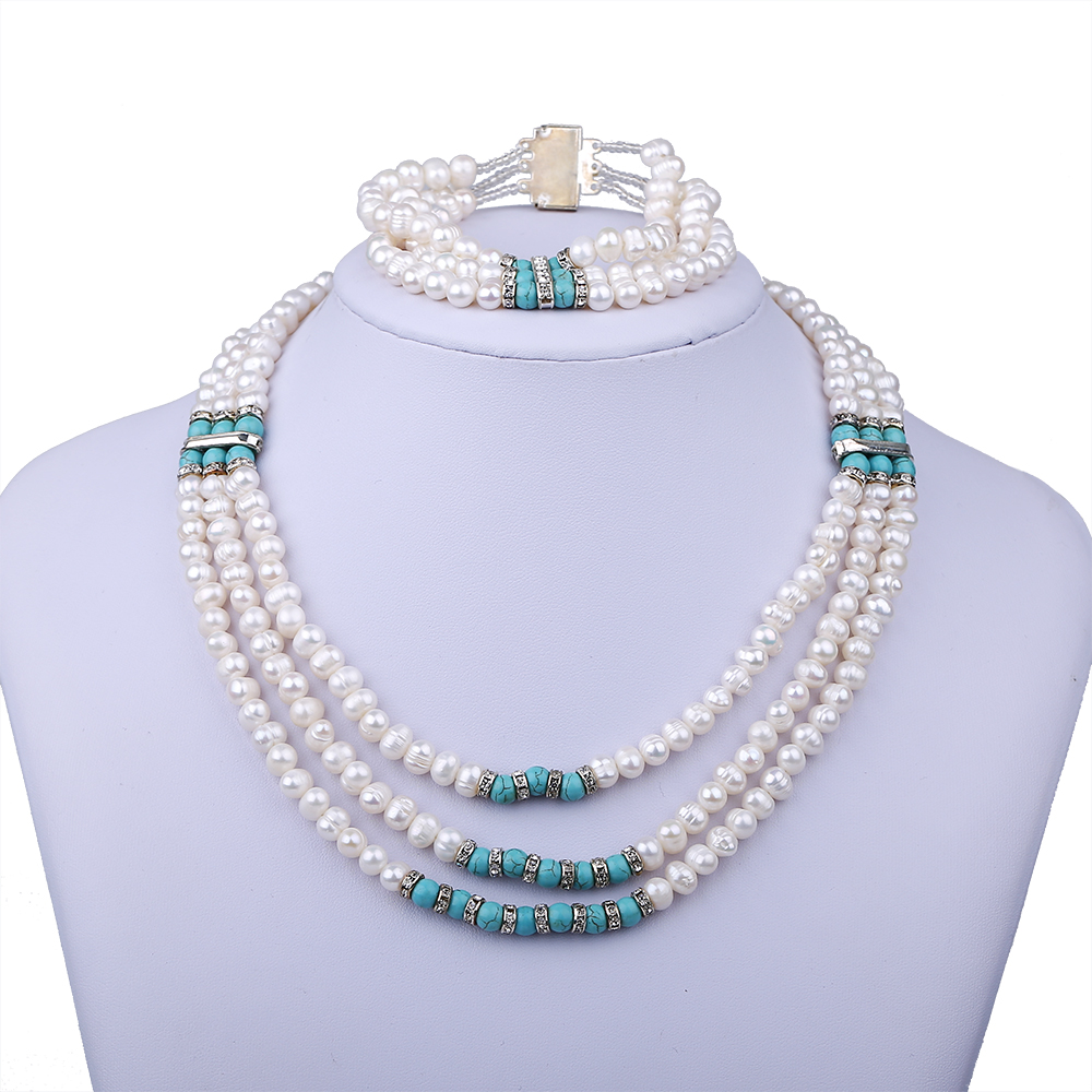 Multilayer Real Natural Freshwater Pearl Jewelry Sets Chokers Necklace And Bracelet Femme Wedding Bridal Party Jewelry