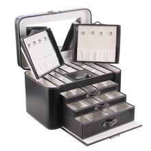 ROWLING дополнительная большая коробка для ювелирных изделий хранение шкатулка кожа роскошное зеркало бархатная шкатулка для бижутерии макияж кольцо контейнер для демонстрации подарок