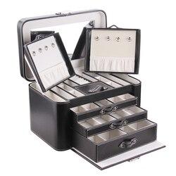 رولينج اضافية كبيرة مجوهرات مربع بو تخزين النعش الجلود الفاخرة مرآة المخملية مجوهرات حالة ماكياج حلقة عرض الحاويات هدية