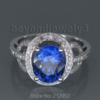 STUNNING SOLID 14KT WHITE GOLD VIOLET BLUE TANZANITE ENGAGEMENT RING R24