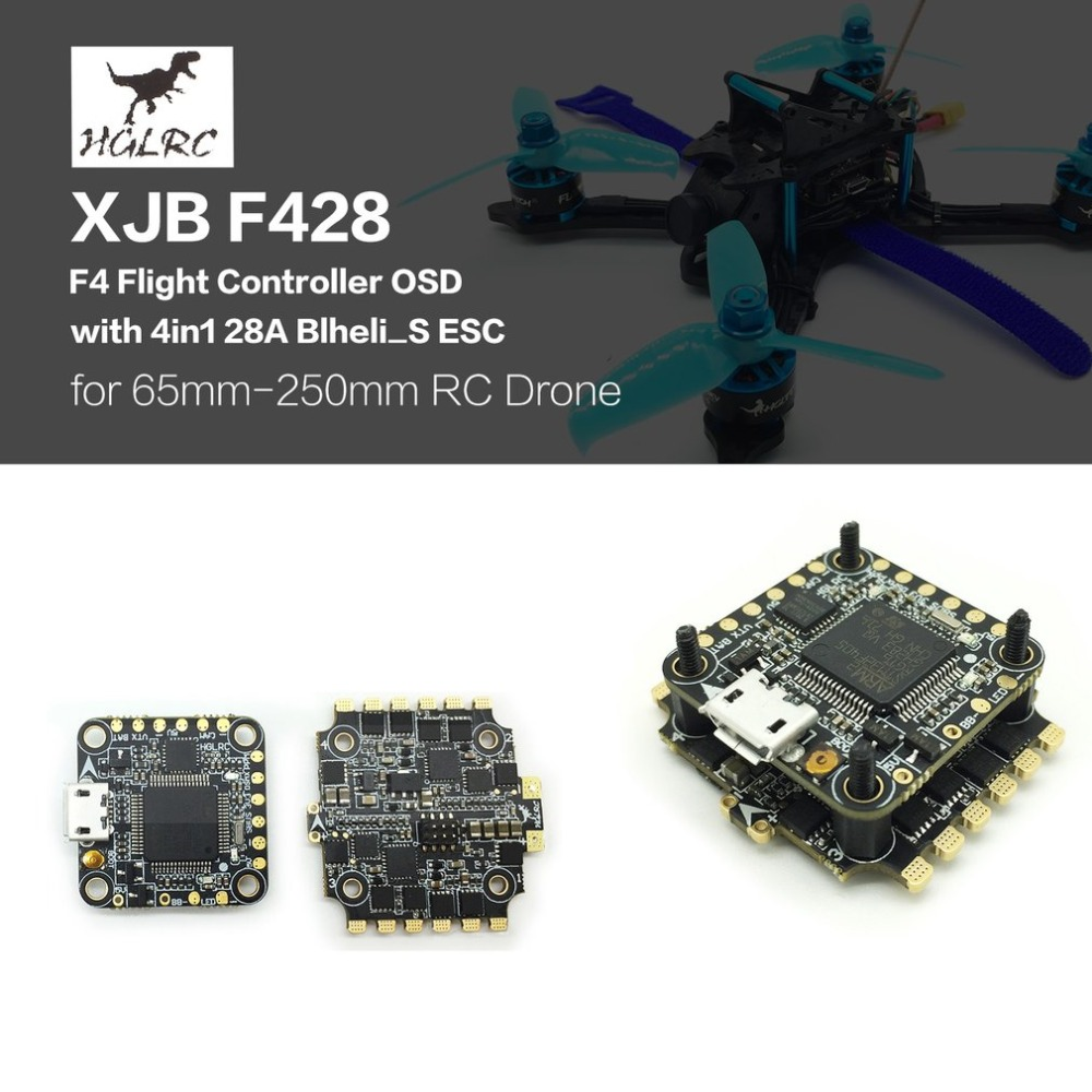HGLRC XJB F440 F438 F428 F4 Tower Flight Controller Betaflight OSD 4in1 40A 38A 28A Blheli_S ESC for RC Racing Quadcopter Drone hglrc xjb f440 f428 f438 f4 tower flight controller betaflight osd 4in1 40a blheli s esc for 65mm 250mm rc racing drone parts