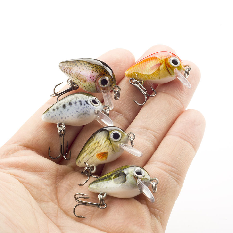 Walk Fish 5PCS/Lot 1.8g 3cm Topwater 0.1-0.5m Japan Mini Crankbait 5 Baits With Plastic Box Fly Fishing Lure Crazy Wobbler