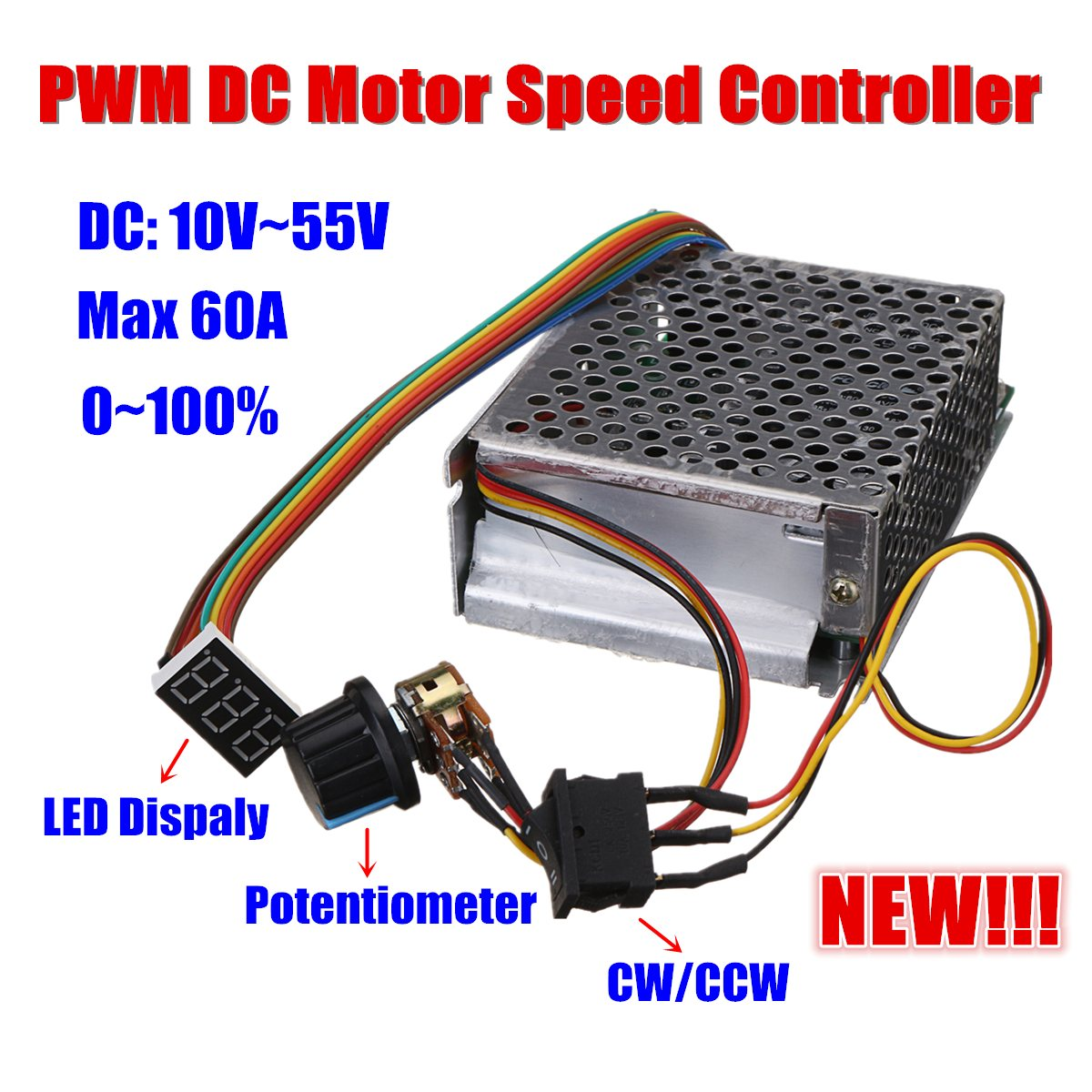 все цены на Reversible DC Motor Speed Controller DC10-50V 60A 3000W PWM Control 12V 24V 36V 48V Forward-Stop-Reversal Brake Digital Display онлайн