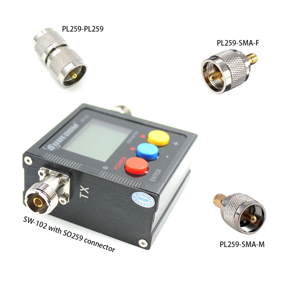 Upgrade Version Surecom SW-102 125-525Mhz VHF/UHF Antenna Power & SWR Meter+SMA-M& SMA-F Connector Not For DMR System