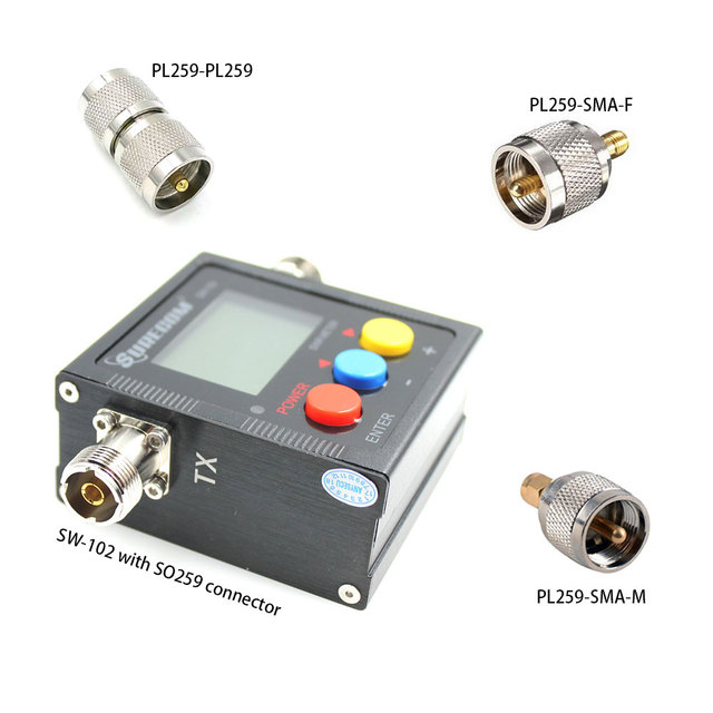 Upgrade version Surecom SW 102 125 525Mhz VHF/UHF Antenna Power & SWR Meter+SMA M& SMA F connector not for DMR system