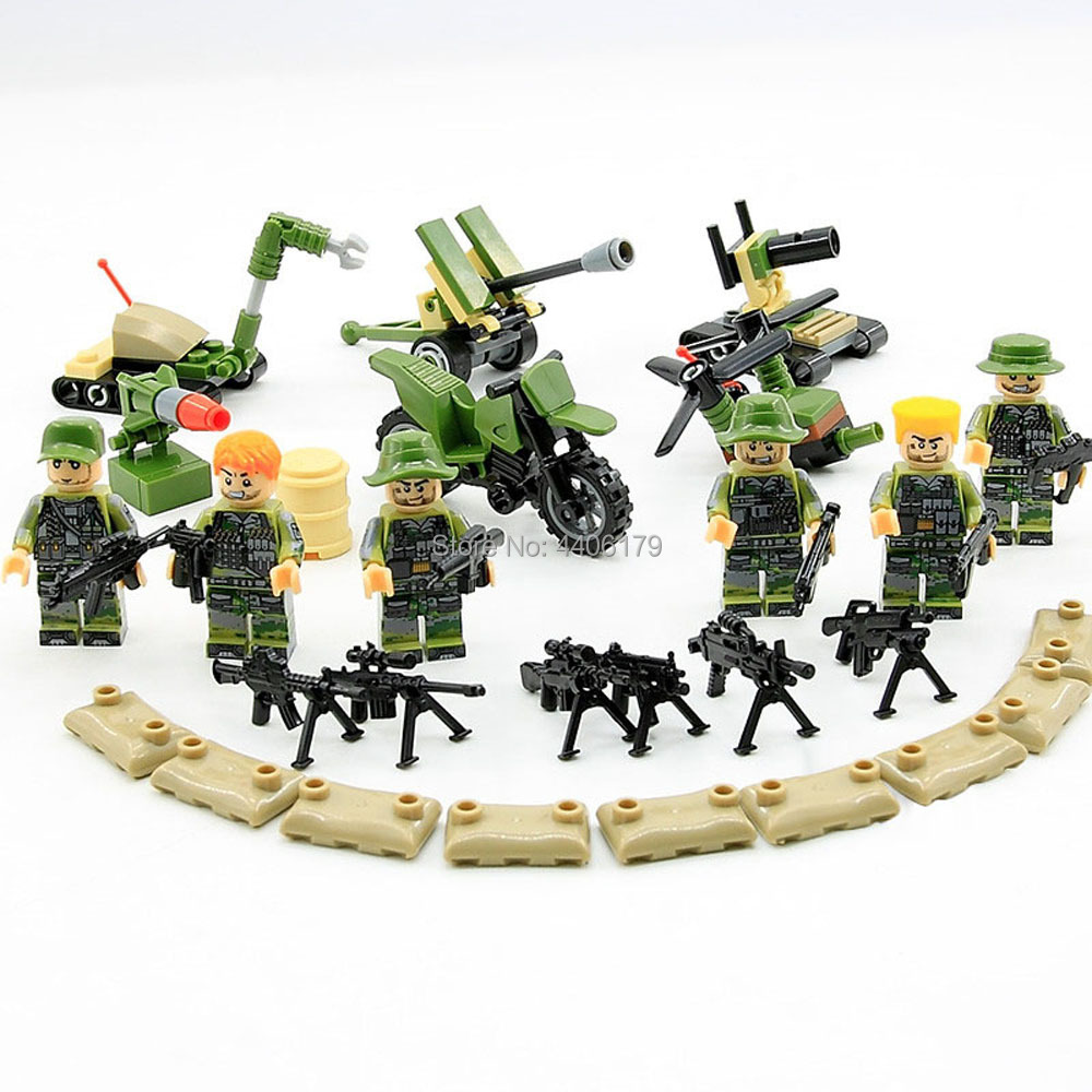 6 PZ hot compatible LegoINGlys military WW2 US army Jungle war Building Blocks mini weapon guns figures bricks toys for children