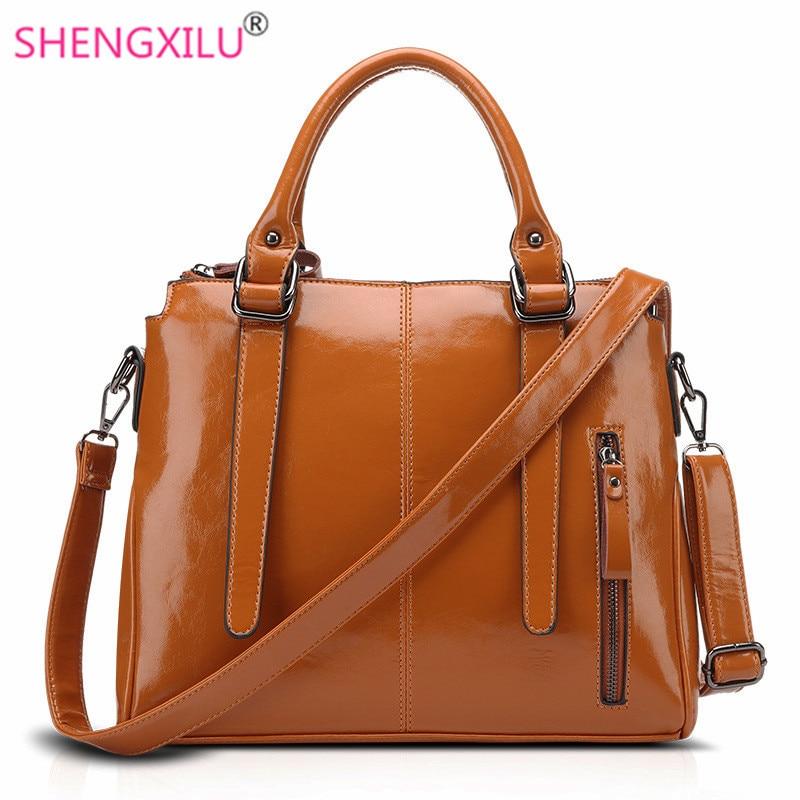 ФОТО Shengxilu genuine leather women handbags luxury brand fashion girls crossbody bags big female messenger bags shop saffiano totes