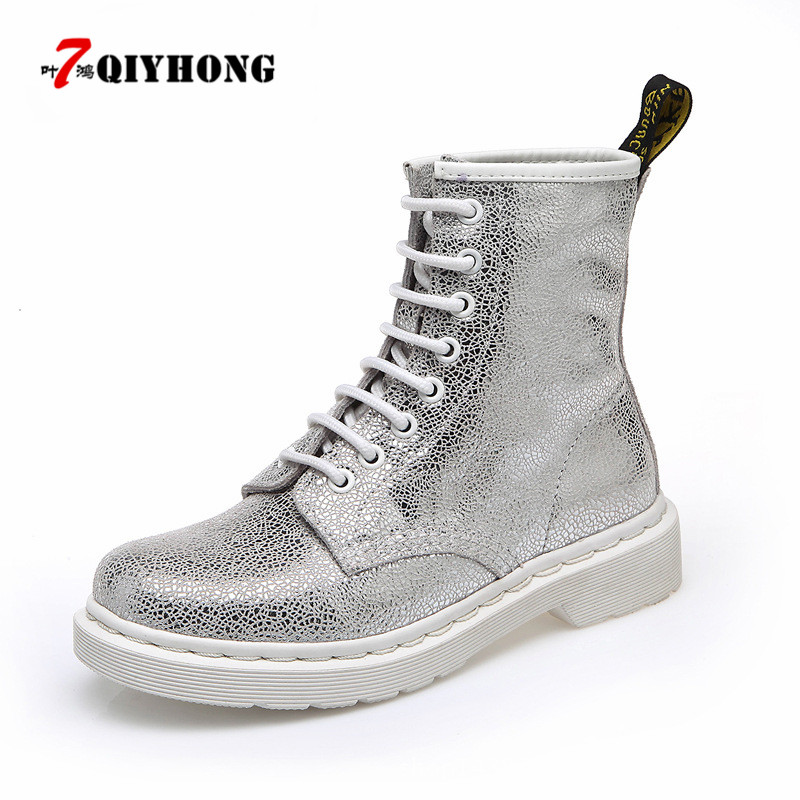 QIYHONG Brand 2018 Spring And Autumn New White Genuine Leather Martin Boots Women'S Ankle Fashion Motorcycle Boots Botas Mujer