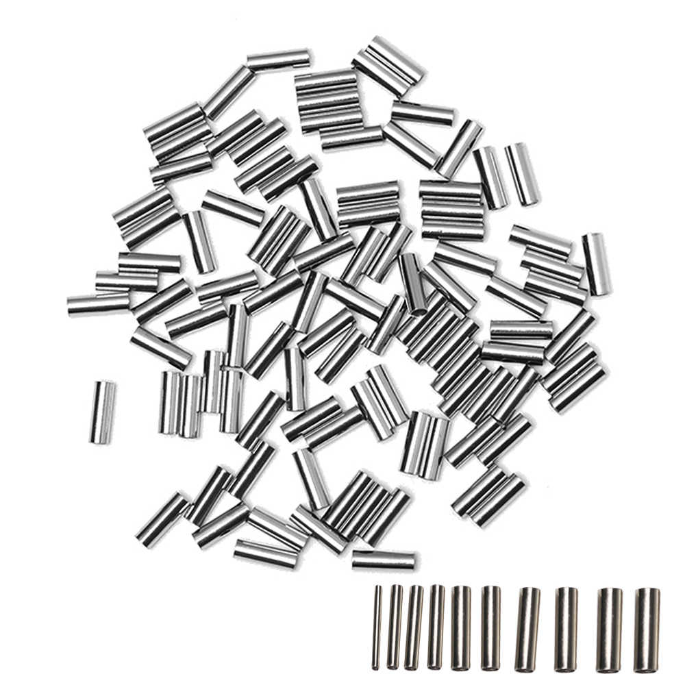 100PC Aluminum Round Copper Fishing Line Tube Crimp Sleeve Copper Tube Connector Sea Fish Tools Accessories 1.0-2.8mm