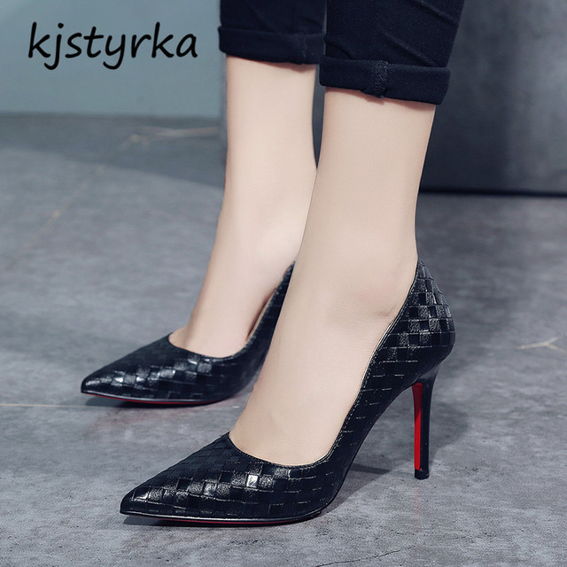 kjstyrka brand design 2018 fashion red bottom pumps women shoes thin high  heels 8cm Elegant ladies black white zapatos mujer 8687beeb5df1
