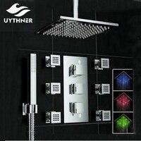 Uythner потолок Mounte 3 цвета Изменение светодиодный площадь Дождь Насадки для душа термостатический клапан смесителя W/гидромассажем душ опрыск