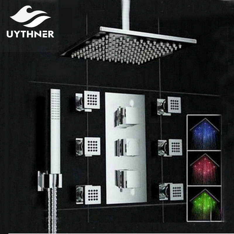Uythner Ceiling Mounte 3 Color Changing LED Square Rain Shower Head Thermostatic Valve Mixer Tap W/ Massage Jets Shower Sprayer shower set wall mounted massage jets thermostatic mixer valve bathroom spa panel faucet led ceiling shower head rain mist bubble