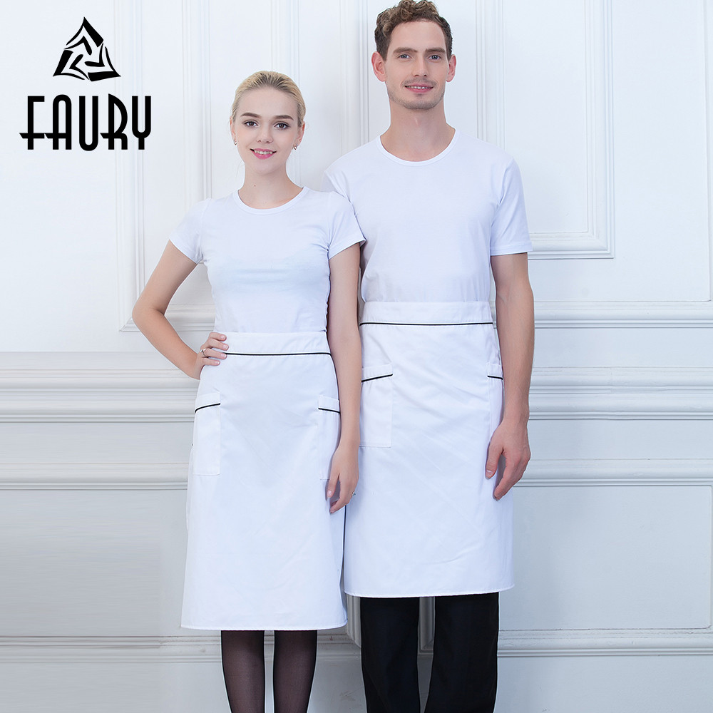 Unisex Spliced Color Fast Food Restaurant Hotel Bakery Cafe BBQ Cooking Wear Chef Kitchen Work Wear Uniforms Pocket Half Aprons