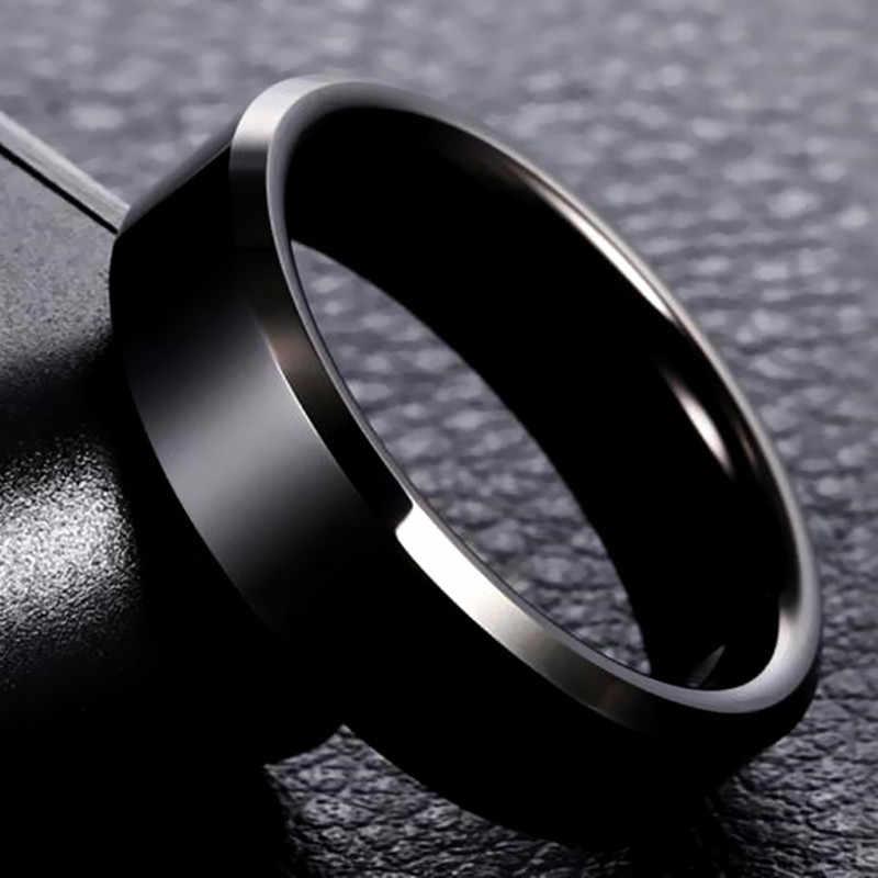316L 고품질 남자 블랙 티타늄 스테인레스 링 연인 커플 반지 여성 남성 은빛 빈티지 멋진 반지 드롭 배송
