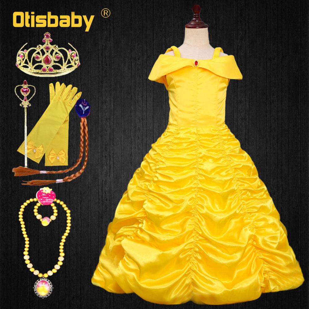 Nouvel an sans manches princesse Belle robe fille Belle et la bête Halloween fête Tutu robe robe Enfant filles robe raiponce