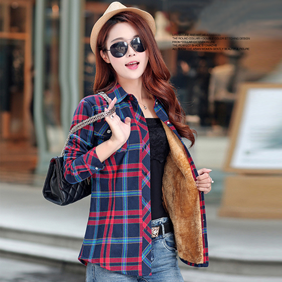 2016 New Women's Winter Autumn Fashion Casual Warm Wool Shirts Blouse / Women's Long Sleeve Plus Size Velvet Plaid Shirt