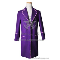 Charlie and the Chocolate Factory Cosplay Willy Wonka Costume Wool Coat Suit Outfits Halloween Fashion Party Fast Shipping