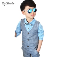 Kids sets for boys Brand Children Suit Kids Waistcoat Formal Birthday Dress Weddings Clothe Set Baby Shirt Vest Pants 3pcs Suit