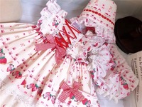 girls clothing set strawberry sweet mini dress & bloomers & cap toddler princess infant clothes boutique kids clothes