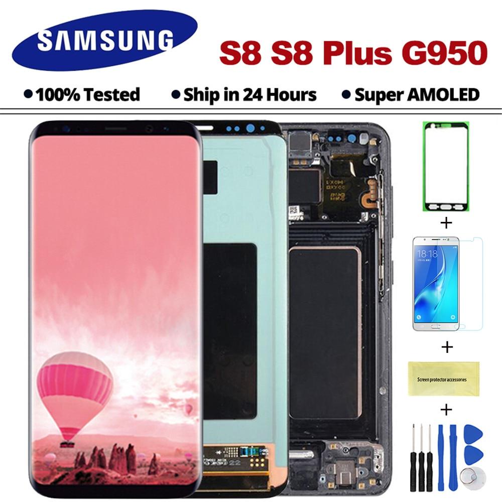 AMOLED S8 Affichage Pour Samsung Galaxy S8 LCD Affichage avec cadre G950F G950 G955 S8Plus Écran Tactile Digitizer Assemblée avec cadre