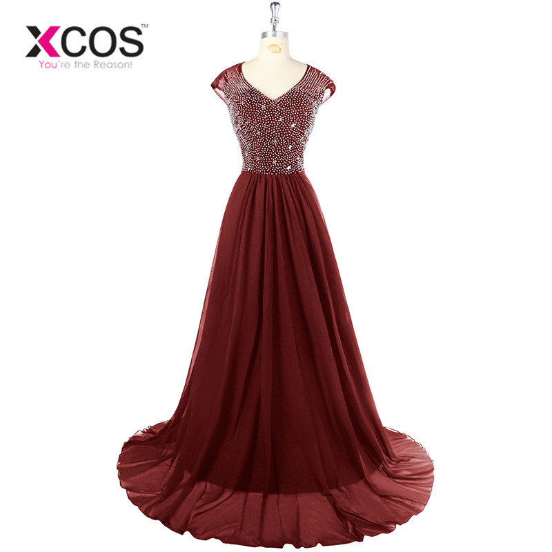 XCOS robe de soiree longue 2018 Royal Blue Green Bling Bling Evening Dress V Neck Chiffon Black Long Prom Dresses abendkleider