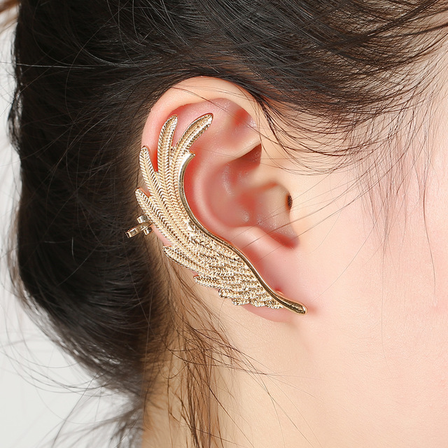 Hot Fashion Single Ear Cuff Earrings 1package Angel Wings Feather Gold Clips For