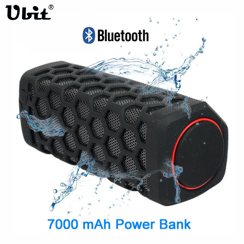 Ubit 10W Sports Outdoor Waterproof Portable Bluetooth Wireless Speakers Bike Sound Box With 7000mA Power Bank