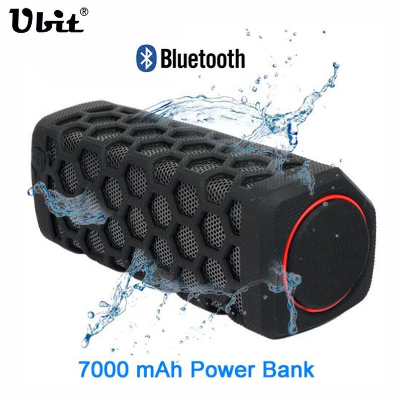 Ubit 10W Sports Outdoor Waterproof Portable Bluetooth Wireless Speakers Bike Sound Box With 7000mA Power Bank Loudspeakers