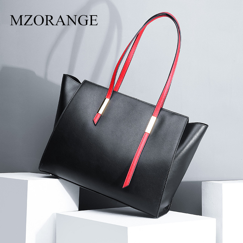 2018 New fashion women genuine leather tote bag High capacity lady real Cowhide tote Girl hand bag Simple fashion kaidese 100% thai crocodile leather hand work system for 2017 new style real leather alligator bag lady big capacity hand bag