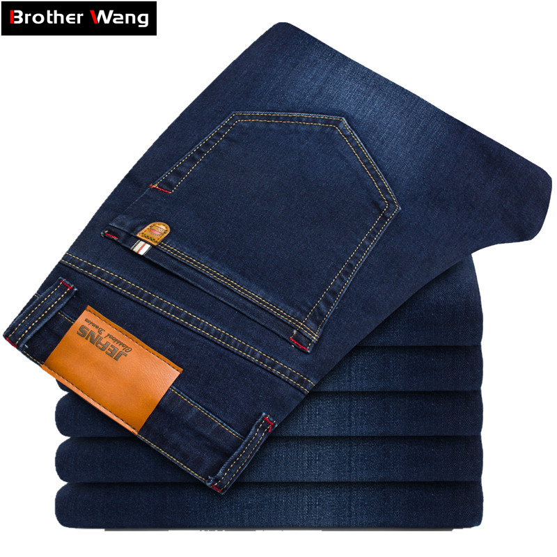 2017 New Men Skinny Jeans Stretch Fashion Classic Blue and Black Slim Brand Jeans Male Trousers Plus Size 38 40 42 44 46  цена