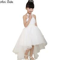 2015 Summer Princess Wedding Bridesmaid Flower Girls Dress For Child Wear Kids Clothes White Party Tutu