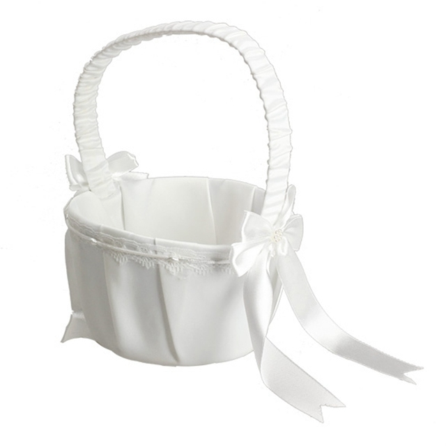 Ivory White Bow Wedding Basket Satin Flower Girl Basket for Wedding Ceremony Party Love Case Wedding Decoration
