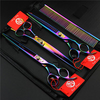 8.0 Inch Professional Pet Scissors Clipper dog Set With Case Bag Dog Cat Tesoura Pets Grooming Cutting Shears Kit Super Quality